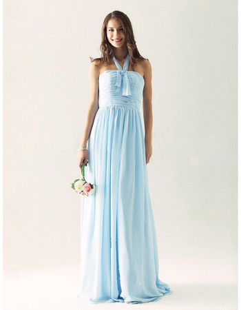 Modern A-Line Halter Floor Length Chiffon Bridesmaid Dress