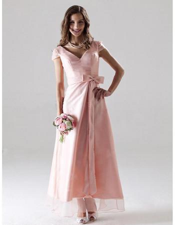 Custom Modest A-Line V-Neck Ankle Length Satin Bridesmaid Dress