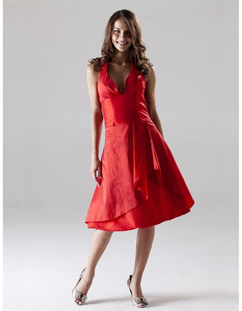 Modest A-Line Halter Knee Length Taffeta Bridesmaid Dress for Wedding
