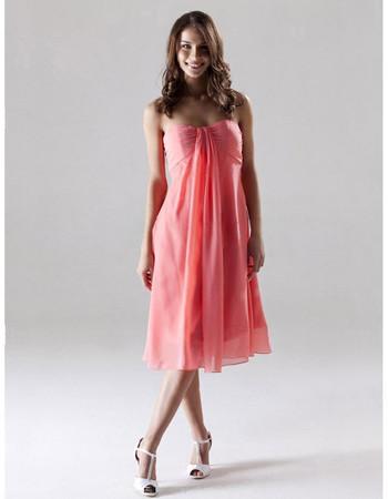 Custom Empire Sweetheart Knee Length Chiffon Bridesmaid Dress for Summer Wedding