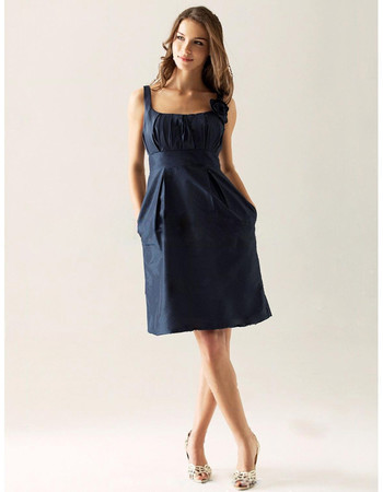 Cheap A-Line Square Knee Length Satin Bridesmaid Dress