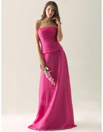 Modest A-Line Strapless Floor Length Satin Bridesmaid Dress