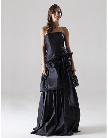 Cheap A-Line Strapless Floor Length Taffeta Bridesmaid Dress