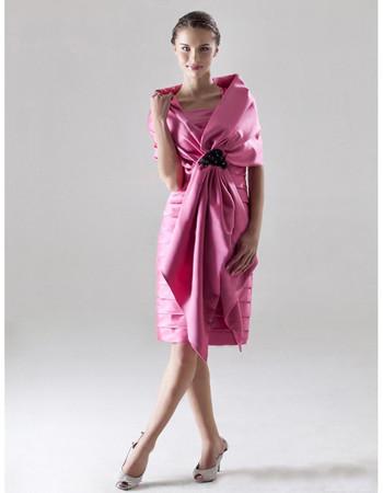 Chic Column Square Knee Length Satin Bridesmaid Dress