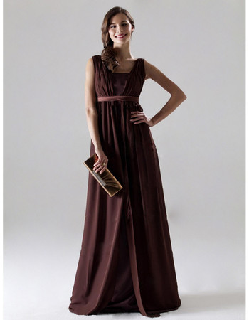 Elegant A-Line Square Floor Length Chiffon Bridesmaid Dress