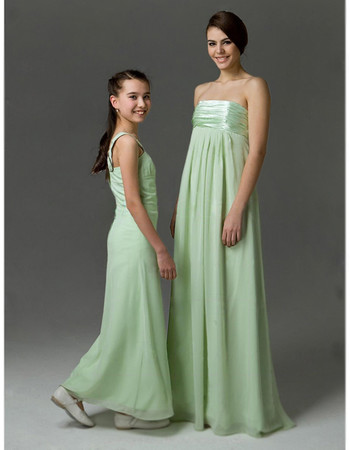 Empire Strapless Floor Length Chiffon Bridesmaid Dress for Sping Wedding