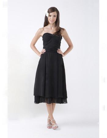 Vintage A-Line Sweetheart Tea Length Chiffon Bridesmaid Dress