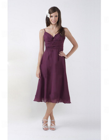 Summer A-Line Sweetheart Tea Length Purple Chiffon Bridesmaid Dress