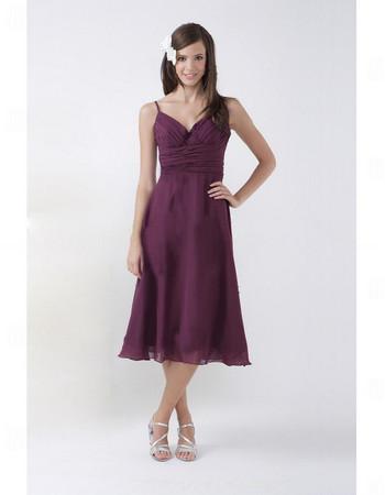 Summer A-Line Sweetheart Tea Length Purple Chiffon Bridesmaid Dress