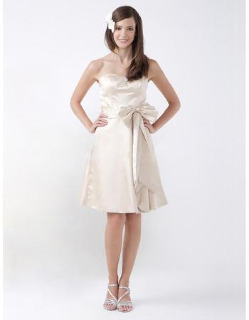 Custom A-Line Sweetheart Knee Length Satin Bridesmaid Dress