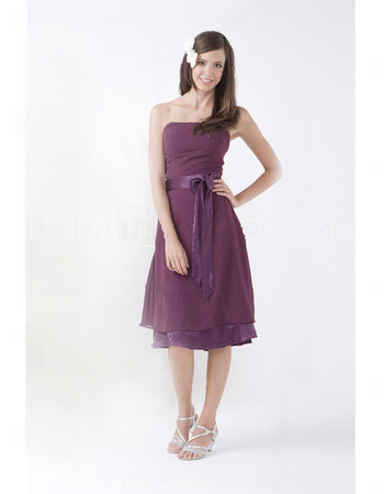 Affordable A-Line Strapless Knee Length Purple Chiffon Bridesmaid Dress