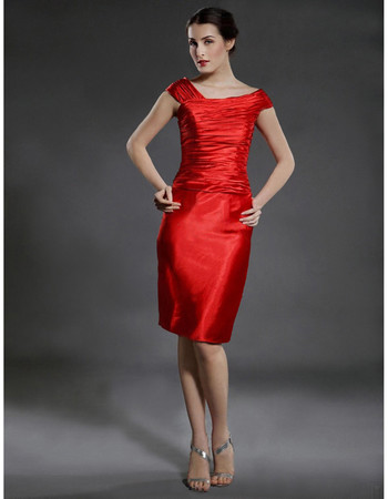 Sheath/ Column Bodycon Knee Length Red Satin Bridesmaid Dress