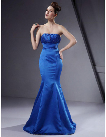 Vintage Mermaid Strapless Floor Length Blue Satin Bridesmaid Dress