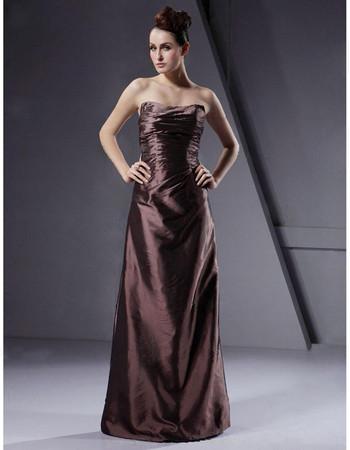 Affordable A-Line Strapless Floor Length Taffeta Bridesmaid Dress