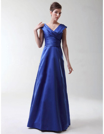 Modern A-Line V-Neck Floor Length Satin Bridesmaid Dress for Women