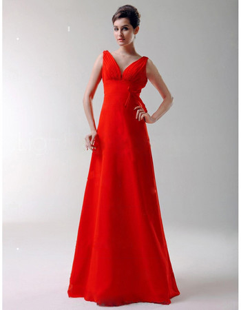 Vintage A-Line V-Neck Floor Length Red Satin Bridesmaid Dress for Women