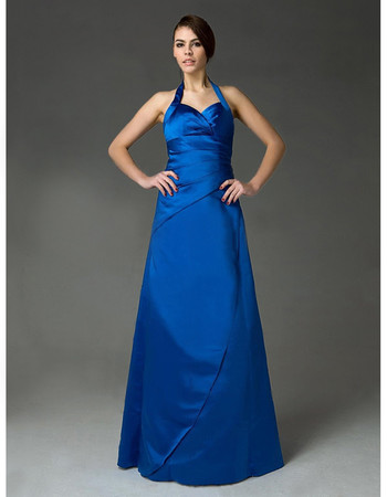 Modern A-Line Halter Floor Length Satin Bridesmaid Dress for Women