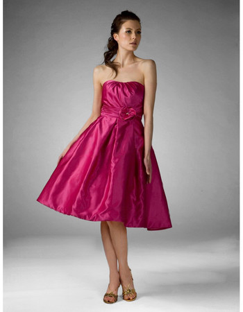 Vintage A-Line Strapless Knee Length Taffeta Bridesmaid Dress