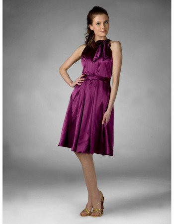 Cheap Designer A-Line Knee Length Purple Satin Bridesmaid Dress