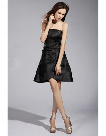 Cheap A-Line Strapless Short Satin Tiered Little Black Bridesmaid Dress