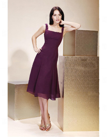 Classic A-Line Square Knee Length Purple Chiffon Bridesmaid Dress