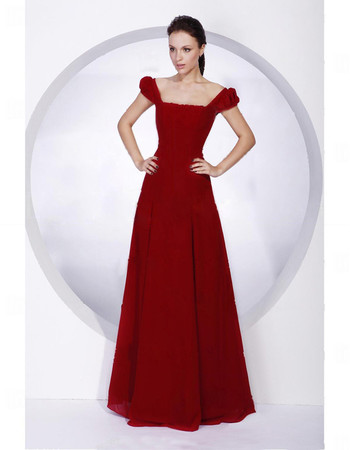 Designer A-Line Square Floor Length Red Chiffon Bridesmaid Dress for Women