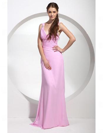 Affordable Sheath/ Column V-Neck Pink Long Chiffon Bridesmaid Dress