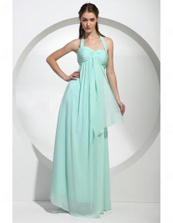 Empire Waist Halter Floor Length Chiffon Bridesmaid Dress for Women