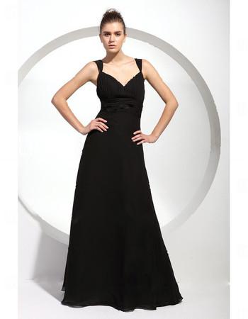 Designer A-Line Sweetheart Long Black Chiffon Bridesmaid Dress for Women