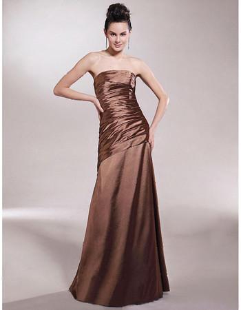 Simple A-Line Strapless Floor Length Satin Bridesmaid Dress