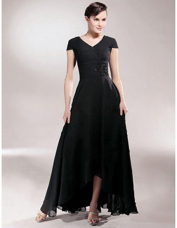 Classy A-Line V-Neck High Low Black Chiffon Prom Evening Dress for Women