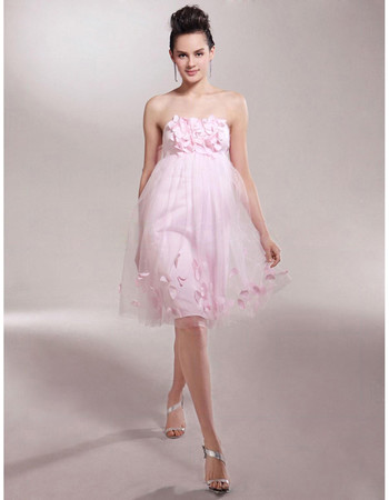 Sexy Empire Strapless Knee Length Organza Bridesmaid Dress for Maid of Honour