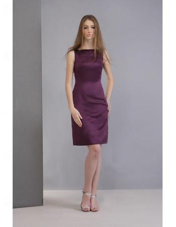 Bodycon Column/ Sheath Short Satin Bridesmaid Dress for Maid of Honour