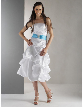 Custom A-Line Strapless Knee Length Taffeta Bridesmaid Dress for Maid of Honour