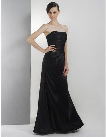 Cheap A-Line Strapless Floor Length Taffeta Bridesmaid Dress Maid of Honour