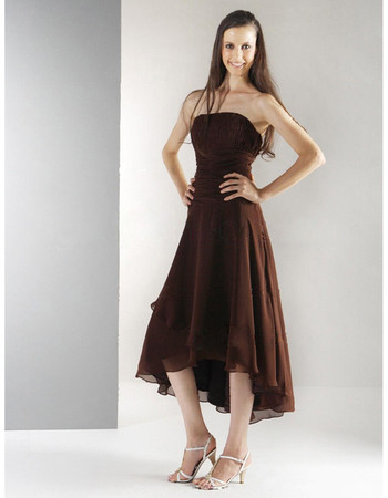 A-Line Strapless Asymmetric Chiffon Bridesmaid Dress for Maid of Honour