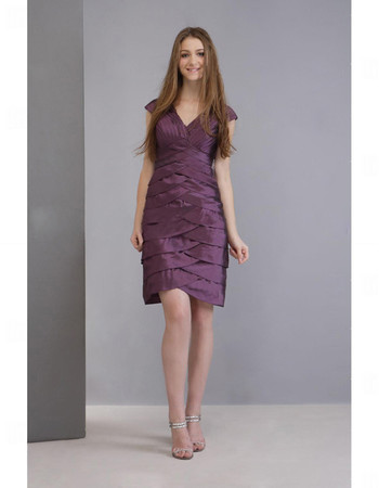 A-Line V-Neck Knee Length Satin Tiered Bridesmaid Dress for Maid of Honour