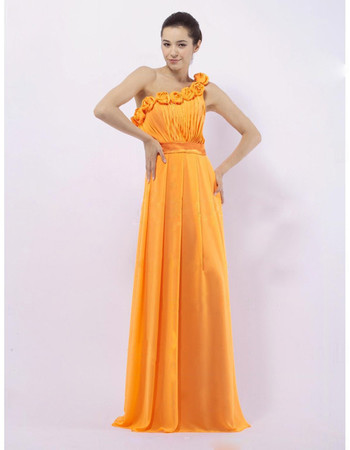 A-Line One Shoulder Long Chiffon Bridesmaid Dress for Maid of Honour