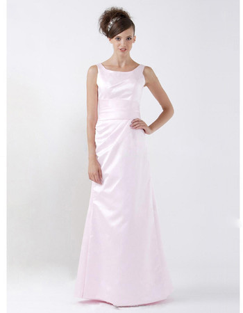 Cheap A-Line Scoop Floor Length Satin Bridesmaid Dress for Maid of Honour