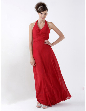 Sheath Halter Floor Length Satin Bridesmaid Dress for Maid of Honour