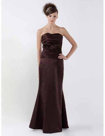 Mermaid/ Trumpet Strapless Floor Length Satin Bridesmaid Dress for Maid of Honour