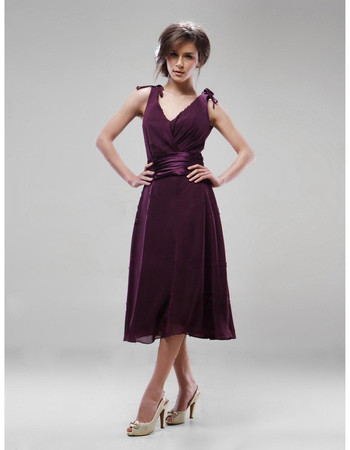 A-Line V-Neck Knee Length Chiffon Bridesmaid Dress for Maid of Honour