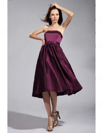 Cheap Empire Strapless Knee Length Satin Bridesmaid Dress for Maid of Honour