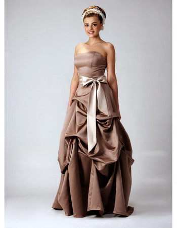Vintage A-Line Strapless Floor Length Satin Bridesmaid Dress for Maid of Honour