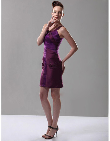 Sheath/ Column Straps Short Satin Bridesmaid Dress for Maid of Honour