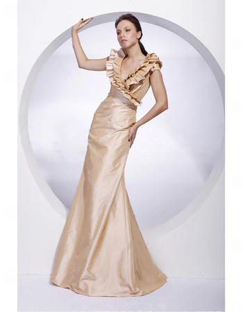Women's Modern Princess V-Neck Floor Length Taffeta Prom Evening Dress