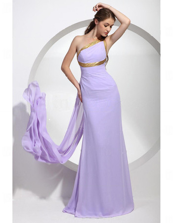 Elegant One Shoulder Floor Length Chiffon Prom Evening Dress for Women