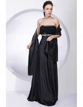 Cheap Custom A-Line Strapless Black Prom Evening Dress for Women