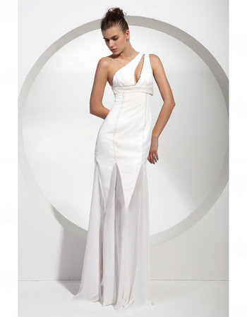 Sexy Modern One Shoulder Long White Satin Prom Evening Dress for Women