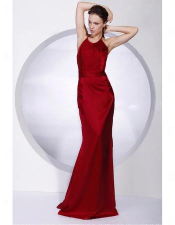 Elegant Mermaid Floor Length Red Satin Prom Evening Dress for Women